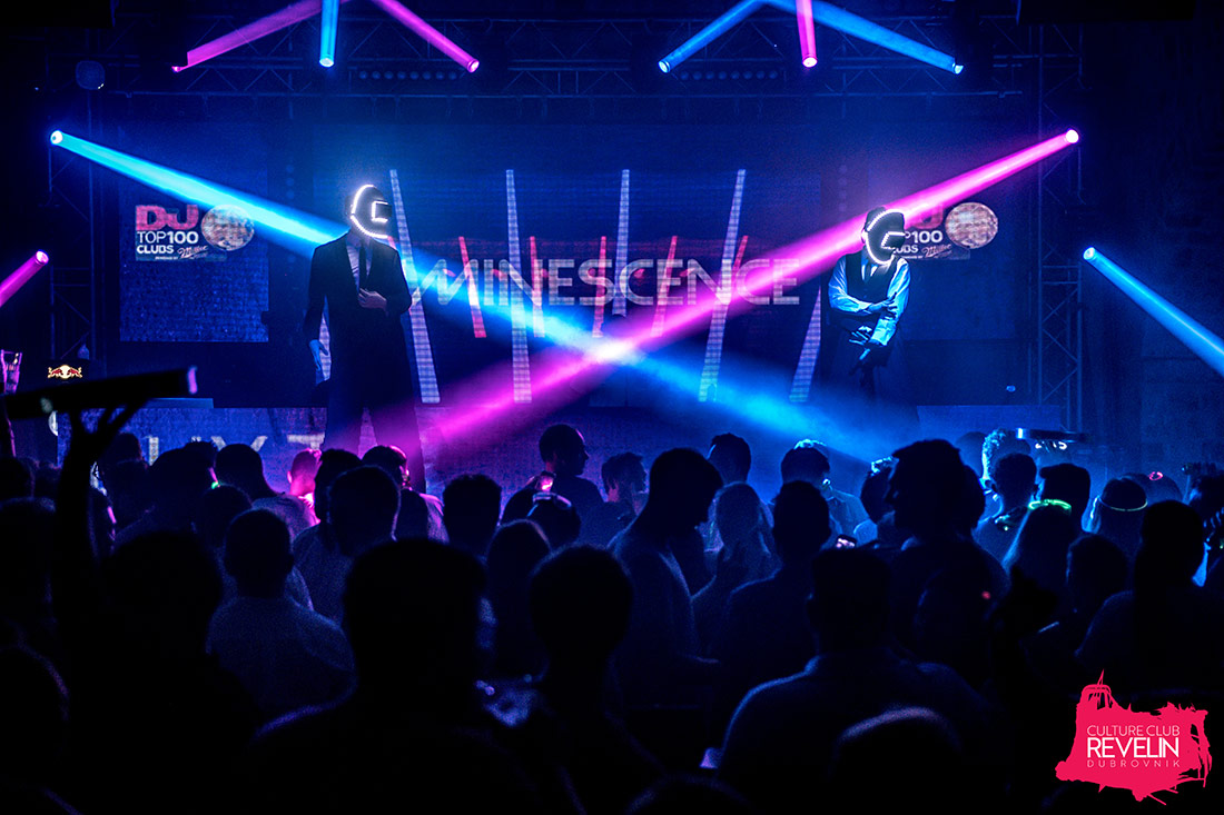 Dancers on stage, Luminescence club night
