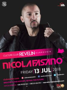 Nicola Fasano performs in nightclub Culture Club Revelin on July 13th 2018 Dubrovnik