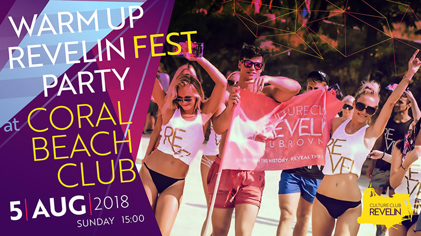 Come to Corla Beach BAr for the Revelin Festival Warmup Party on August 5th 2018