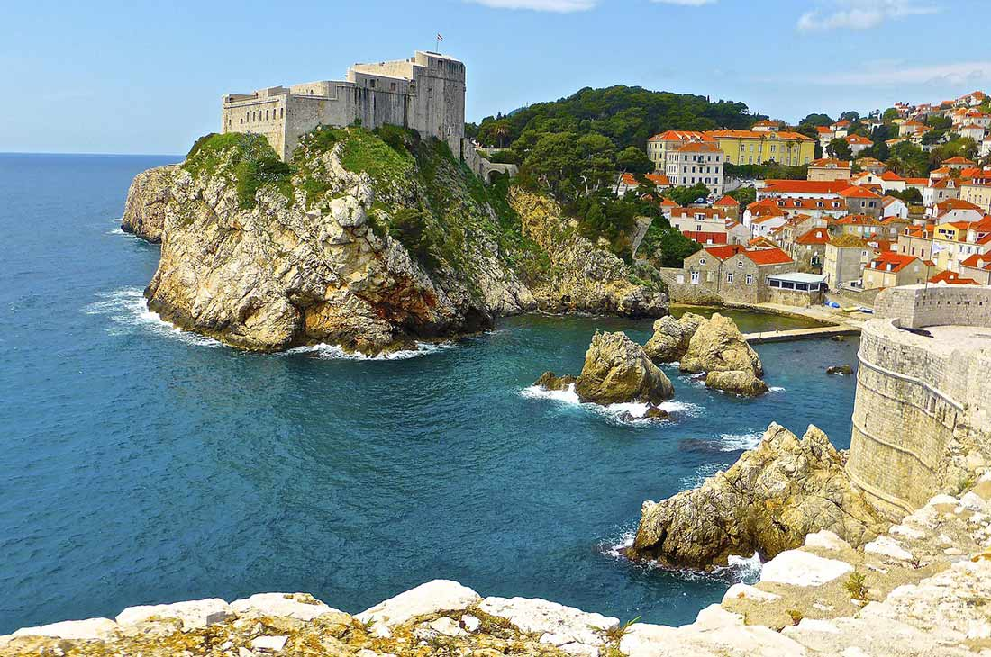 Famous Dubrovnik cliffs and fortress