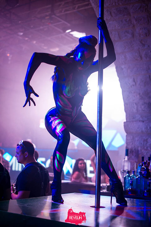 Pole Dancer at Luminescence club night in Revelin nightclub,Dubrovnik