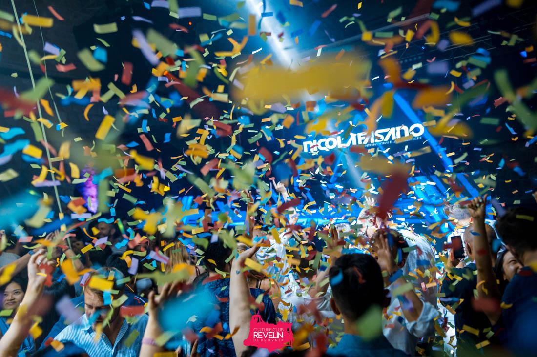 confetti in the air, Revelin club for Nicola Fasano